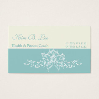 Trendy White Lotus Flower Yoga on Teal Blue Business Card