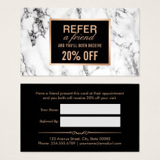 Trendy White Marble Beauty Salon Referral Business Card at Zazzle