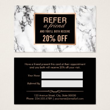 CardHunter Trendy White Marble Beauty Salon Referral Business Card