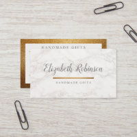 Trendy White Marble & Gold Glitter Handmade Gifts Business Card
