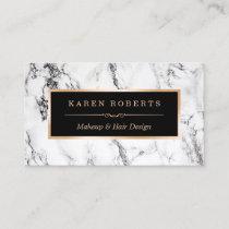 Trendy White Marble Makeup Artist Hair Salon Business Card