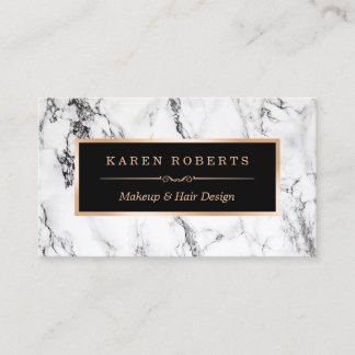 Custom business cards zazzle trendy white marble makeup artist hair salon business card reheart Images