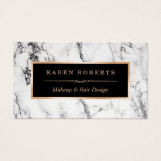 Trendy White Marble Makeup Artist Hair Salon Business Card at Zazzle