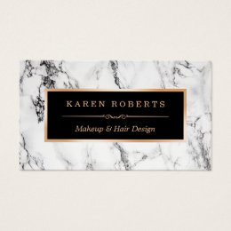 Salon business cards 16000 salon business card templates trendy white marble makeup artist hair salon business card reheart Image collections