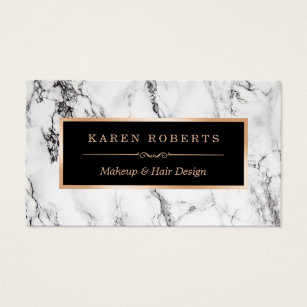 Beauty business cards templates zazzle trendy white marble makeup artist hair salon business card reheart Images