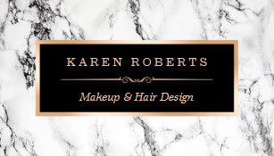 Makeup artist business cards zazzle trendy white marble makeup artist hair salon business card reheart Gallery