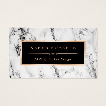 CardHunter Trendy White Marble Makeup Artist Hair Salon Business Card