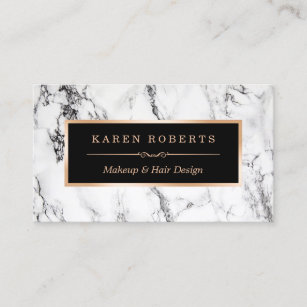Makeup artist business cards zazzle trendy white marble makeup artist hair salon business card cheaphphosting Image collections