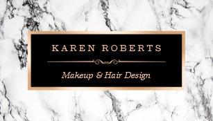 Makeup artist business cards zazzle trendy white marble makeup artist hair salon business card colourmoves