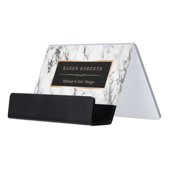 Trendy white marble makeup artist hair stylist desk business card trendy white marble makeup artist hair stylist desk business card holder colourmoves