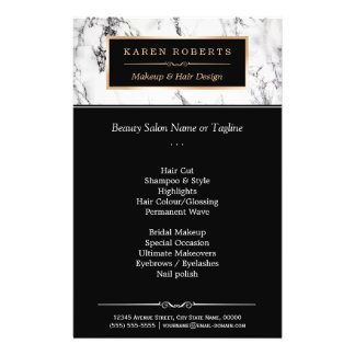 Trendy White Marble Makeup & Hair Beauty Salon Flyer