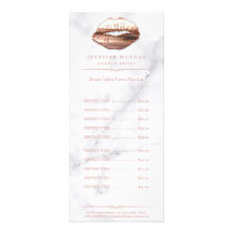 Trendy White Marble Rose Gold Lips Price List Rack Card