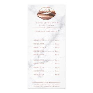 Trendy White Marble Rose Gold Lips Price List Rack Card