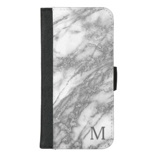 Trendy White Marble Stone And Silver Glitter iPhone 8/7 Plus Wallet Case