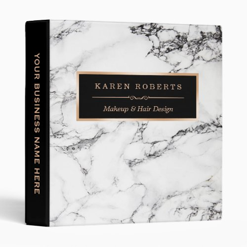 Trendy White Marble Stone Texture Modern Design Binder