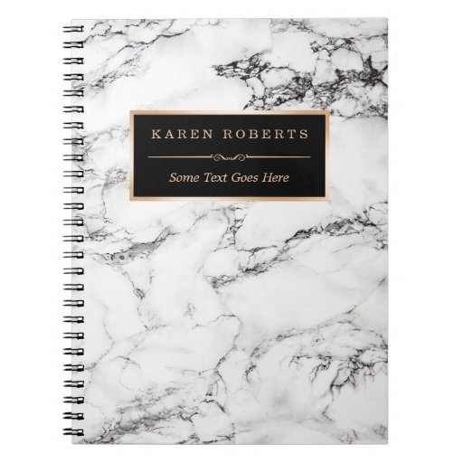 Trendy White Marble Stone Texture Modern Look Notebook