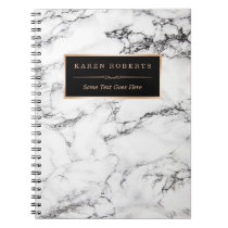 Trendy White Marble Stone Texture Modern Look Spiral Notebook