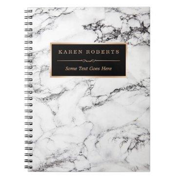 CardHunter Trendy White Marble Stone Texture Modern Look Spiral Notebook