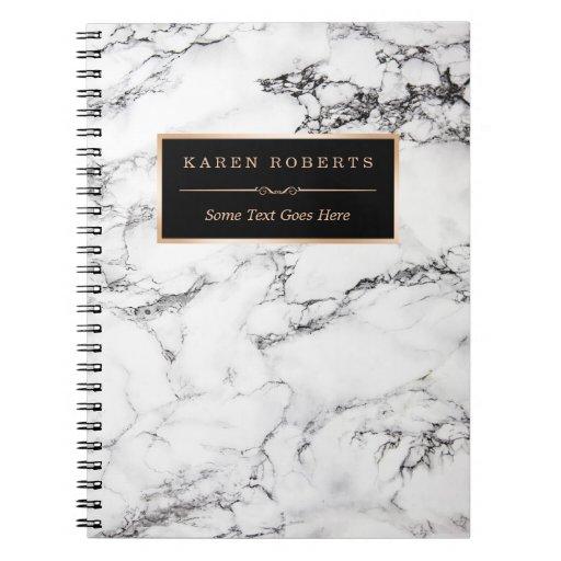 Trendy White Marble Stone Texture Modern Look Spiral Notebook