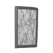 Trendy White Marble Stone Trifold Wallet