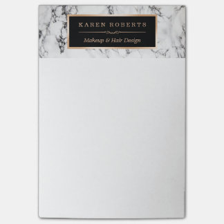 Trendy White Marble Texture Stylish Gold Frame Post-it® Notes