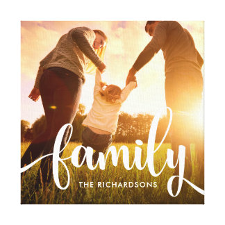 Trendy White Overlay | Your Family Photo Canvas Print