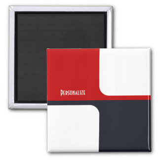 Trendy White Red and Navy Graphic Color Blocks Magnet