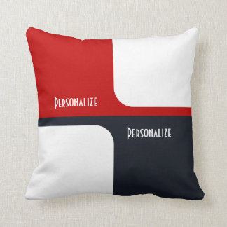 Trendy White Red and Navy Graphic Color Blocks Throw Pillow