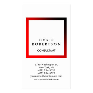 Trendy White Red Frame Consultant Business Card