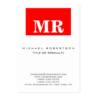 Trendy White Red Minimalist Monogram Business Card