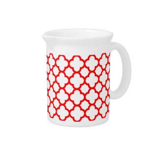 Trendy White Red Quatrefoil Pattern Drink Pitcher
