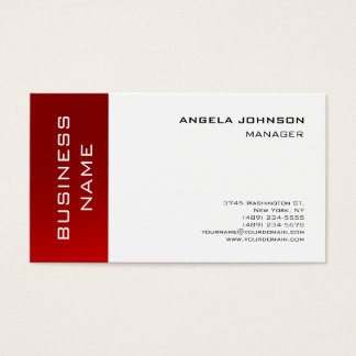Trendy White Red Striped Manager Minimalist Style Business Card