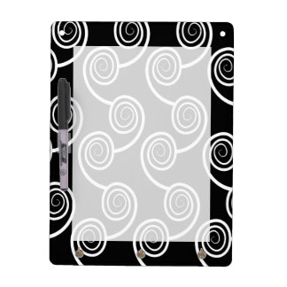 Trendy White Swirl  pattern On Black Dry-Erase Board