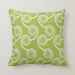 Trendy White Swirl pattern On Green Pillows