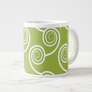 Trendy White Swirl pattern On Green Extra Large Mug
