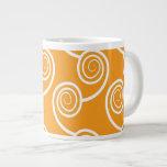 Trendy White Swirl  pattern On Orange Jumbo Mug