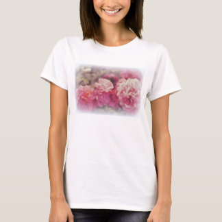 Trendy White T-Shirt with Painted Rose Print