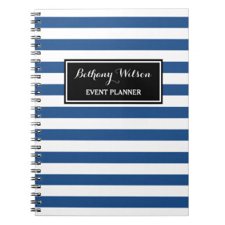 Trendy Wide Blue and White Stripes Event Planner Spiral Notebook