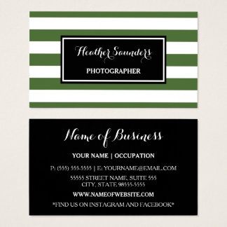 Trendy Wide Green and White Stripes Photographer Business Card