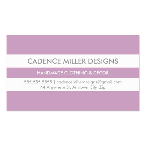 TRENDY WIDE STRIPE modern minimal pastel purple Business Card