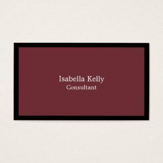 Trendy Wine Red Black Color Plain Unique Stylish Business Card