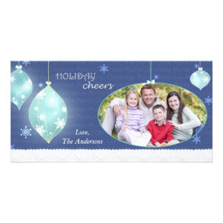 Trendy Winter Blue Merry Christmas Family Photo Card