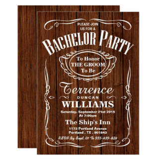 Trendy Wood Typography Bachelor Party Invitation
