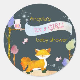 Trendy Woodland Fox Baby Girl Baby Shower Stickers