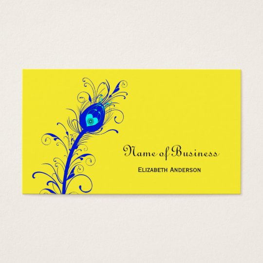 Trendy Yellow and Blue Peacock Feather Business Card