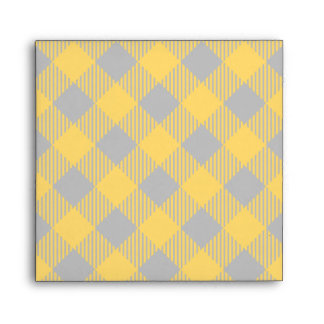 Trendy Yellow and Gray Check Gingham Pattern Envelope