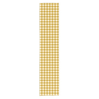 Trendy Yellow And White Gingham Check Pattern Short Table Runner