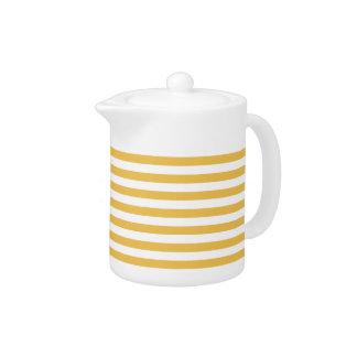 Trendy Yellow and White Wide Horizontal Stripes Teapot