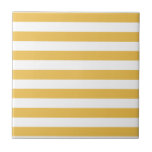 """Trendy Yellow and White Wide Horizontal Stripes Tile<br><div class=""""desc"""">A trendy yellow and white wide horizontal stripes pattern tile. This modern and stylish design is sure to capture attention.</div>"""