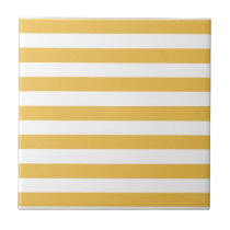 Trendy Yellow and White Wide Horizontal Stripes Tile